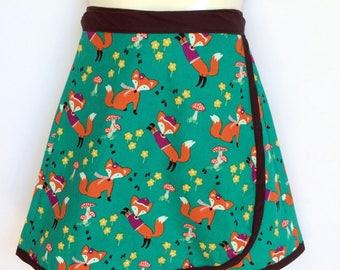 Girls Wrap Around Skirt - green woodlands fox print - sizes 1 to 8 - forrest