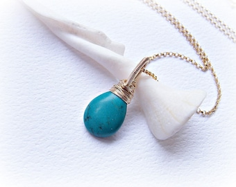 Turquoise teardrop necklace, small turquoise necklace, authenticated natural turquoise drop pendant wire wrapped in gold fill on rolo chain