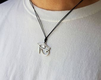 Silver - Eye of Horus, Eye Necklace, Egyptian Jewelry,  Horus Necklace, Protection, Good Health