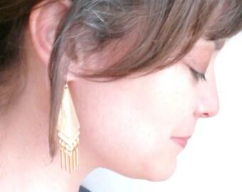 Gypsy earrings. Boho tribal fringe. Geometric vintage brass. Gold triangles on 14K gold fill ear wires.