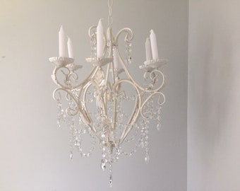 Large cream chandelier, 6 candle stick chandelier, clear glass crystals and prisms, Tons of sparkle,