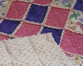 Crib Rag Quilt -Stroller Blanket - Baby Minky Blanket - Baby Girl Rag Quilt - Security Blanket - Stroller Blanket - Baby Blanket - Baby Gift