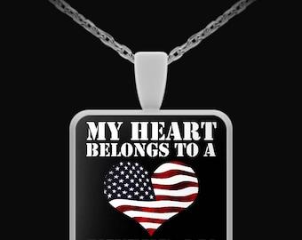 My Heart Belongs To a Veteran - Necklace-Pendant
