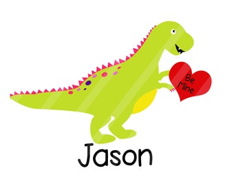 Valentine Dinosaur Personalized Digital Image for iron-ons,heat transfers, T-Shirts, Onesies, Bibs, Towels, Aprons, DIY YOU PRINT