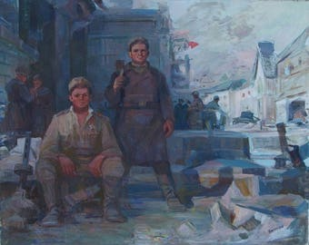 Great Patriotic War,USSR,Soviet army,socialist realism,original oil painting,Nikanorov VF Soldats 140-176 oil on canvas. 70e 1.5