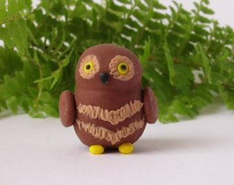Polymer Clay Owl, Handmade Figurine, Miniature Forest Animals, Fairy Garden Decor, Terrarium Accessory, Hobbit Garden, Detailed Sculpture
