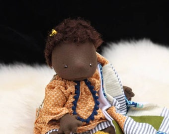 one of a kind collector waldorf baby doll,  natural fiber art doll, art baby doll,small waldorf doll ooak cloth doll, waldorf baby doll