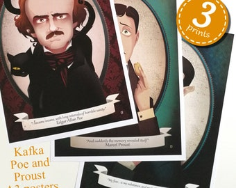 3 PRINTS PACK - Edgar Allan Poe, Marcel Proust and Franz Kafka prints- Elisabetta Stoinich literary illustration -A3 11x17 inches