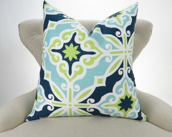Blue & Green Pillow Cover -MANY SIZES- Navy Blue, Lime Green, Aqua, White, Beach Decor, Sofa Pillow, Harford Canal Premier Prints, FREESHIP