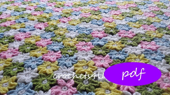 Crochet Pattern Flower Afghan Crochet Blanket Pattern Baby