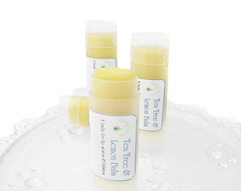 Lemon Balm and Tea Tree, lip balm, natural lip balm, aid cold sores, lip sores and blisters