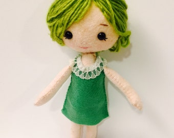 Trendy Girl Plushie. Softie. Felt Doll.