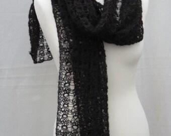 Black Alpaca Scarf - Hand Spun Alpaca Scarf, Hand Knitted Black Lace Scarf/Shawl/Wrap