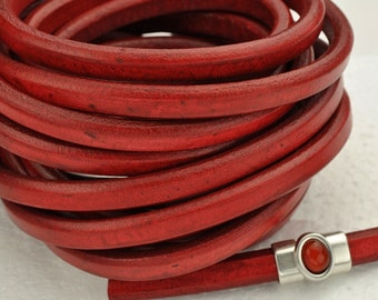 Distressed Red Regaliz Licorice Leather Cord - 10mm x 6mm - 8 inch/20cm piece