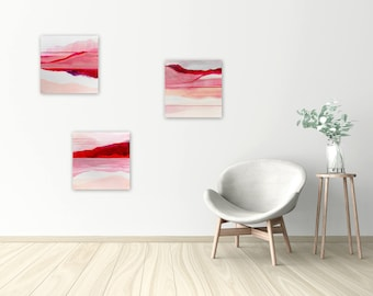 Original Abstract Triptych, Abstract Landscape Paintings, Abstract Wall Art, Pink Painting, red pink white - Meditations on Love 2018