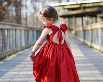 Red and White Polka Dot Maxi Saige Dress