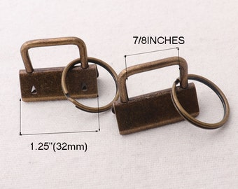 """1.25""""(32mm),10 sets,Antique Bronze Key Fob Hardware with keychain hardware,for webbing/ Wristlets/Fabric Key Chains(kfh97)"""