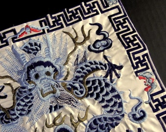 """Vivid Blue and White Dragon Machine Made CHINESE EMBROIDERY 10 1/2"""" Square Patch for your Interior Design or Sewing Projects / eb13"""