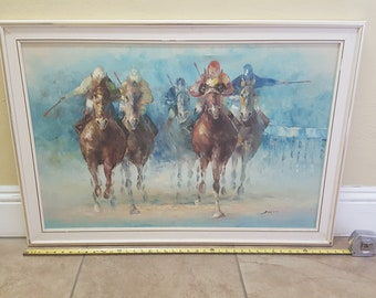 Original Signed Oil Painting on 24X36 Canvas by Anthony Veccio  Student of LeRoy Neimann Equestrian Thoroughbred Steed Jockeys Horse Racing