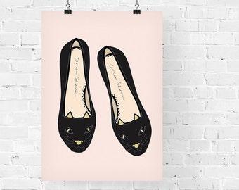 Cat Flats Fashion Illustration Art Print