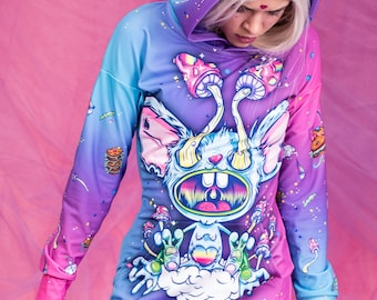 Rave Pullover Hoodie, Psychedelic Clothing, Weed Clothing, Trippy Shirt, Party Hoodie Dress, Hooded Sweatshirt, Festival Outfit for Women