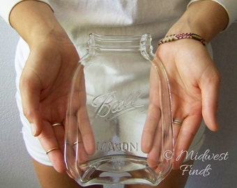 Mason Jar Spoon Rest, soap dish, butter dish, serving tray, clear quart size, gift box included