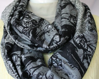 Infinity Scarf. Zombie infinity scarf. Scarf. Walking dead scarf. Day of the dead. Sugar skull scarf. Day of the dead scarf. Neckwear.