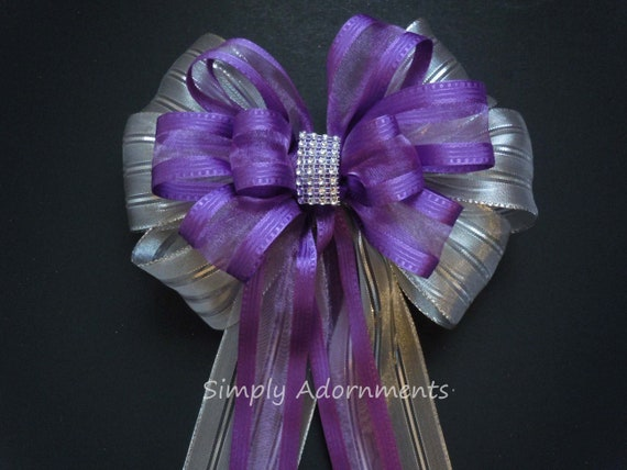 Purple Silver Graduation Party Decor Purple Silver Bridal Shower Decor Purple Silver Birthday party Purple Silver Wedding Pew Bow Gifts Bow