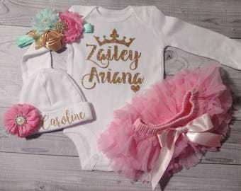 baby clothes, Baby Girl, coming home outfit, clothes, take home outfit, going home outfit, newborn, hello world, name, sparkling new, brand
