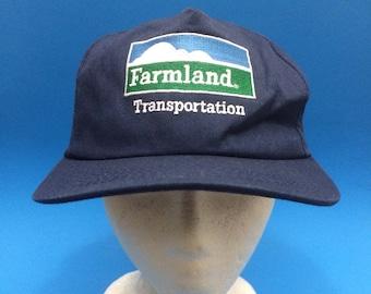 Vintage Farmland Transportation Trucker SnapBack Hat Adjustable 1990s