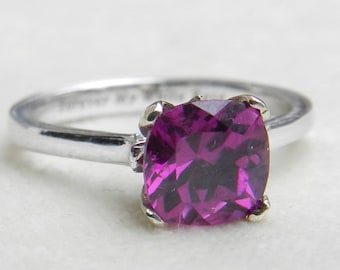 Engagement Ring 1.87 Carat Purple Grape Garnet Ring cushion cut Purple Bishop Garnet 14k White Gold