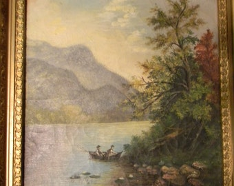 Vintage Antique Oil on Canvas Hudson River Painting