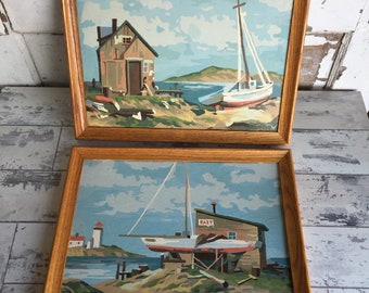 Vintage PBN Paint by Number - Harbor Boat Fisherman Scenes - Pair 10 x 14 Framed