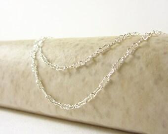 "KRINKLE - 16"", 18"", or 20"" - Sterling Silver Necklace - Peanut Chain - Delicate Chain - Finished Chain - Krinkle Chain Link - Fancy Chain"