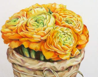 ranunculus bouquet, ORIGINAL watercolor & prismacolor picture,still life, botanical art, illustration, wall decor