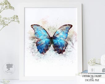 Butterfly print, Blue butterfly, Printable poster, Watercolor Butterfly Butterfly art, Butterfly poster, Butterfly Wall decor,