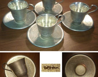 Four antique cups and saucers Silver Plated Russian origin