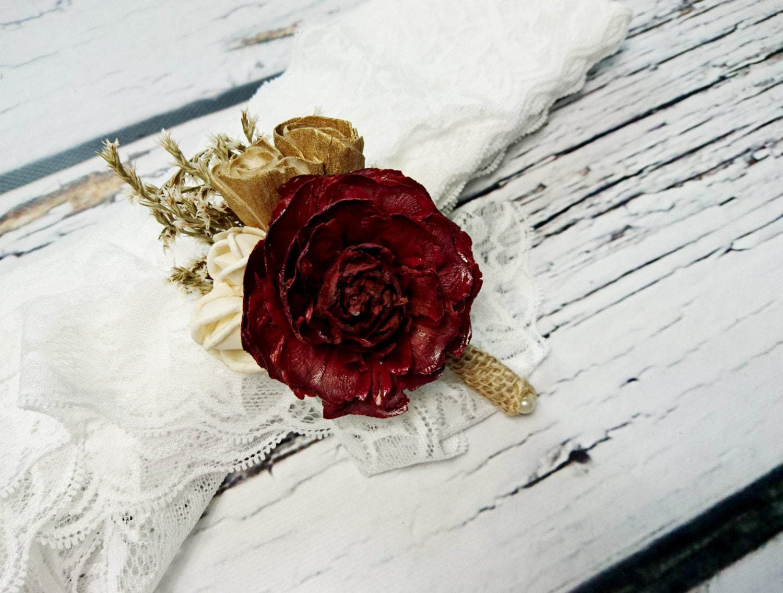 Cream brown burgundy rustic wedding Rustic BOUTONNIERE / CORSAGE ...