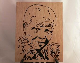 "Portrait of NELSON MANDELA ""MADIBA"" woodcut."