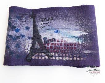 Purple Art Cowl with Eifel Tower - Paris Design Reversible Designer Infinity Scarf