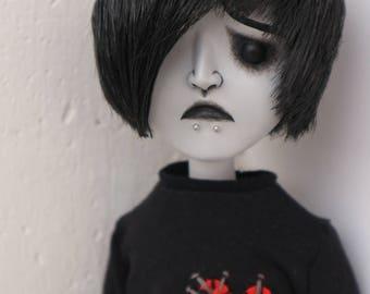 "20.5"" / 52 cm posable OOAK sad doll Mikey (goth, emo, horror, creepy, cute)"