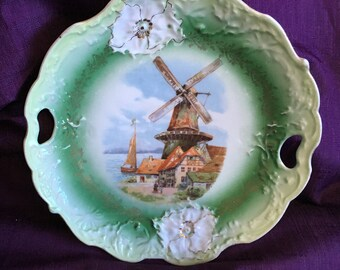 Antique Cake Plate Dutch Village Boat Windmill Raised Relief Flowers Dutch Collectibles Gift Ideas FREE USA Shipping at Everything Vintage!