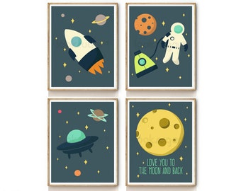 Kids Wall Art . Outer Space Art Or Any 4 Prints . Baby Nursery . Moon Art Print . I Love You To The Moon And Back Print .  Set of 4 . RP0012
