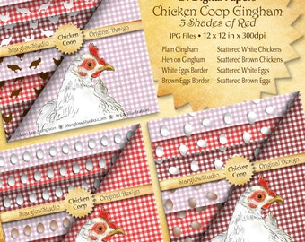 Chicken Coop Country Gingham Check Digital Paper: White & Brown Eggs, Shades of Red, Setting Hen, Chicken Silhouettes, Crafting Supply
