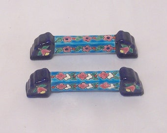 "French ""Decore Enamels 'd Longwy"" Pair of Knife Rests"