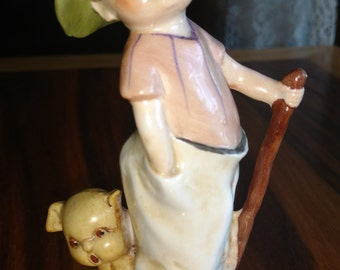 Free Shipping:  Antique German Porcelain Boy and Dog Figurine