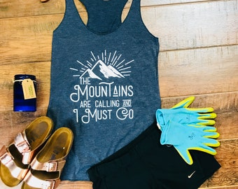 Wanderlust - Adventure Awaits - Wanderlust Gift -  Camping Shirt - The Mountains are Calling And I Must Go - Mountains Shirt - Tumblr Shirt