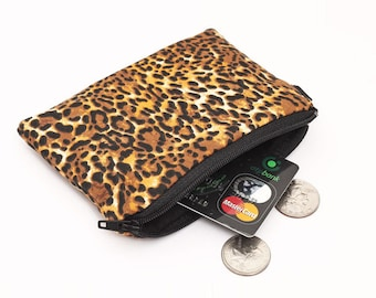 Leopard Coin Purse, Zipper Coin Bag, Zippered Phone Pouch, Animal Print Mini Makeup Bag, Women's Card Wallet - brown animal skin cheetah