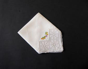 Vintage cotton handkerchief with embroidery, lace corner and hem