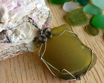 Forest Green Sea Glass Pendant